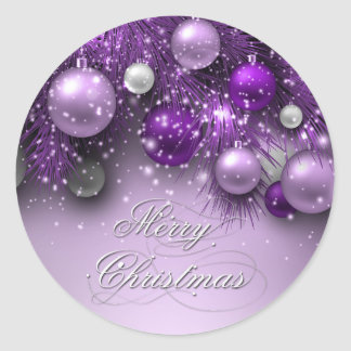Christmas Holiday Ornaments - Purples Round Sticker