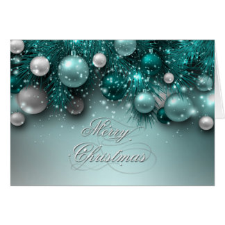 Christmas Holiday Ornaments - Teal - Customize Greeting Card