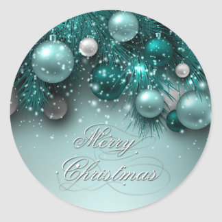 Christmas Holiday Ornaments - Teal - Customize Round Sticker