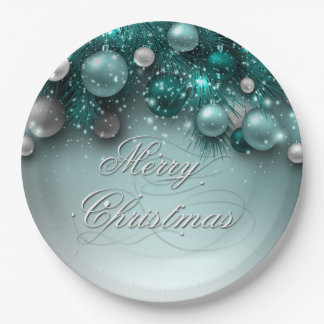 Christmas Holiday Ornaments - Teal Paper Plate