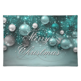 Christmas Holiday Ornaments - Teal Place Mats