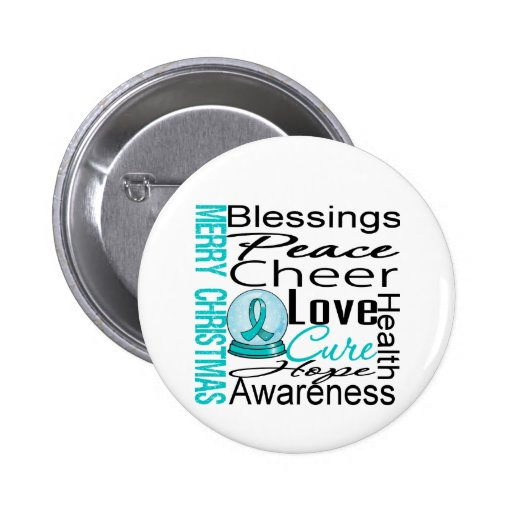 Christmas Holiday Ovarian Cancer Collage Pinback Buttons