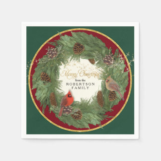 Christmas Holiday Party Evergreen Wreath Cardinals Disposable Napkin