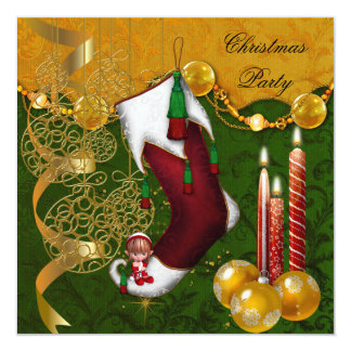Christmas Holiday Party Gold Green Red Xmas 13 Cm X 13 Cm Square Invitation Card