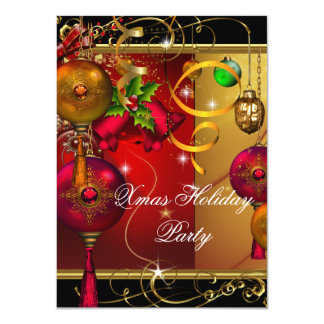 Christmas Holiday Party Gold Red Black Green Xmas 11 Cm X 16 Cm Invitation Card