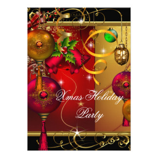 Christmas Holiday Party Gold Red Black Green Xmas Personalized Invite