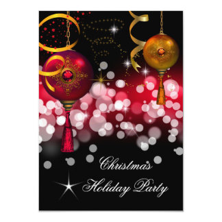 Christmas Holiday Party Gold Red Black 4.5x6.25 Paper Invitation Card
