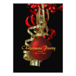 Christmas holiday party gold red elegant invite