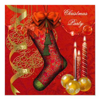 Christmas Holiday Party Gold Red Xmas 13 Cm X 13 Cm Square Invitation Card