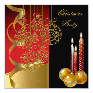 Christmas Holiday Party Gold  Red Xmas 2 13 Cm X 13 Cm Square Invitation Card