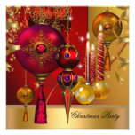 Christmas Holiday Party Gold Red Xmas Balls Personalised Invite