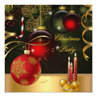 Christmas Holiday Party Gold Red Xmas Balls 13 Cm X 13 Cm Square Invitation Card