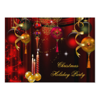 Christmas Holiday Party Gold Red Xmas Decorations 11 Cm X 16 Cm Invitation Card