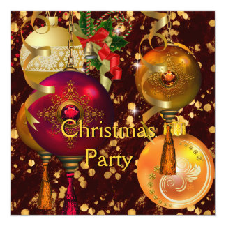 Christmas Holiday Party Gold Red Xmas Decorations 13 Cm X 13 Cm Square Invitation Card
