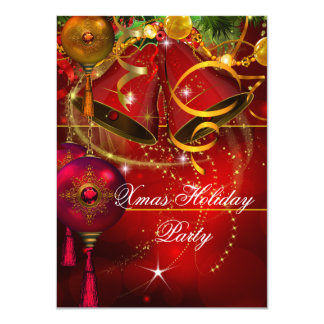 Christmas Holiday Party Gold Red Xmas Glitter 11 Cm X 16 Cm Invitation Card