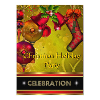Christmas Holiday Party Gold Red Xmas Glitter 17 Cm X 22 Cm Invitation Card