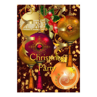 Christmas Holiday Party Gold Red Xmas Glitter 2 Announcement