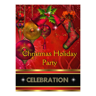 Christmas Holiday Party Gold Red Xmas Glitter Invitations