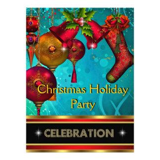 Christmas Holiday Party Gold Red Xmas Glitter Custom Invitations