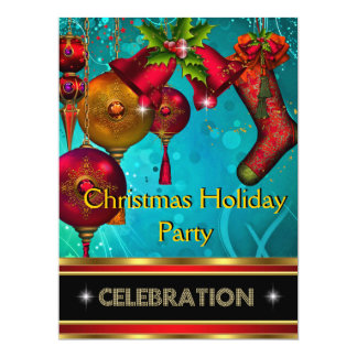 Christmas Holiday Party Gold Red Xmas Glitter Custom Invitations