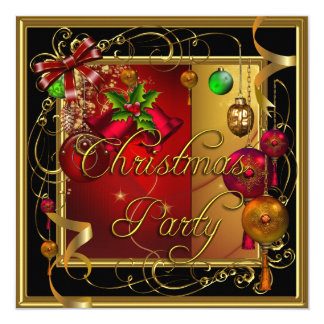 Christmas Holiday Party Gold Red Xmas Glitter 13 Cm X 13 Cm Square Invitation Card