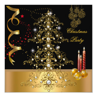 Christmas Holiday Party Gold Red Xmas Tree 13 Cm X 13 Cm Square Invitation Card