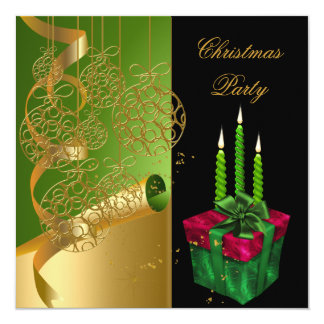 Christmas Holiday Party Green Gold Red Xmas 13 Cm X 13 Cm Square Invitation Card