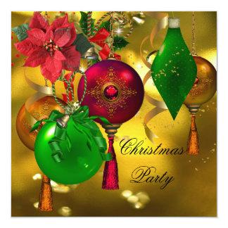 Christmas Holiday Party Green Gold Red Xmas Invitation