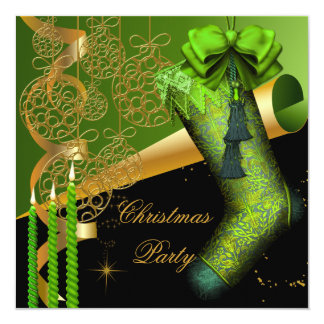 Christmas Holiday Party Green Gold Xmas 13 Cm X 13 Cm Square Invitation Card