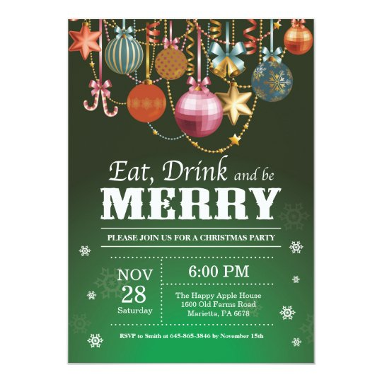 Christmas Holiday Party Invitation Eat Drink Merry