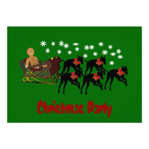 Christmas Holiday Party Invitation Greyhounds