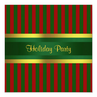 Christmas Holiday Party Invitation Red Green Gold