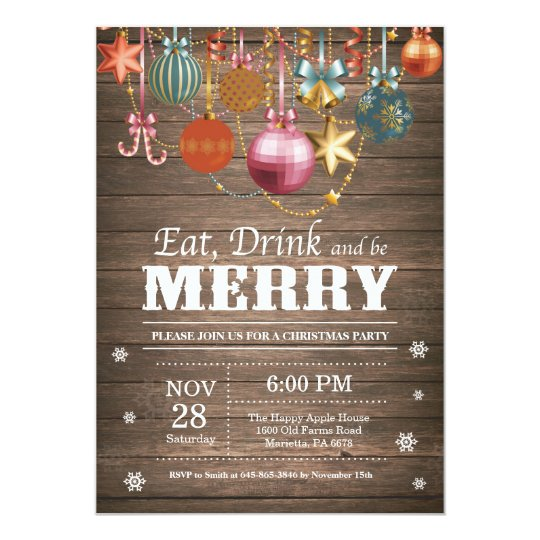 Christmas Holiday Party Invitation Rustic Wood