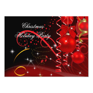 Christmas Holiday Party Red Black Gold Balls 11 Cm X 16 Cm Invitation Card