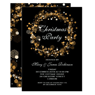 Christmas Holiday Party Wreath Gold Card