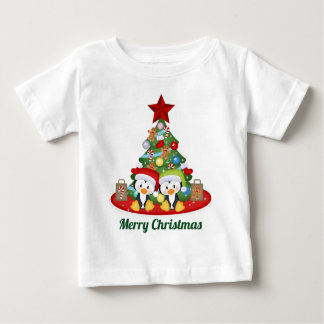 Christmas Holiday penguins add text baby unisex Baby T-Shirt
