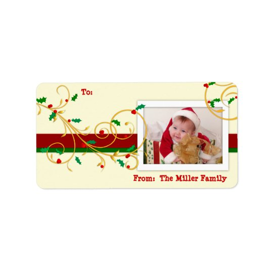 Christmas Holiday PHOTO Gift Tag Labels