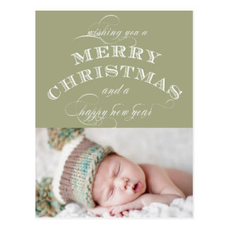 CHRISTMAS HOLIDAY PHOTO POSTCARD GREEN