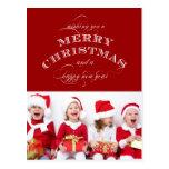 CHRISTMAS HOLIDAY PHOTO POSTCARD RED
