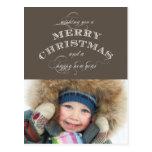 CHRISTMAS HOLIDAY PHOTO POSTCARD | TAUPE