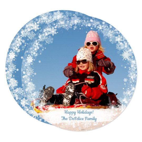 Christmas Holiday - Photo Snowflakes Frame Temp Card