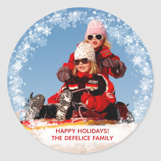 Christmas Holiday - Photo Snowflakes Frame Temp Classic Round Sticker