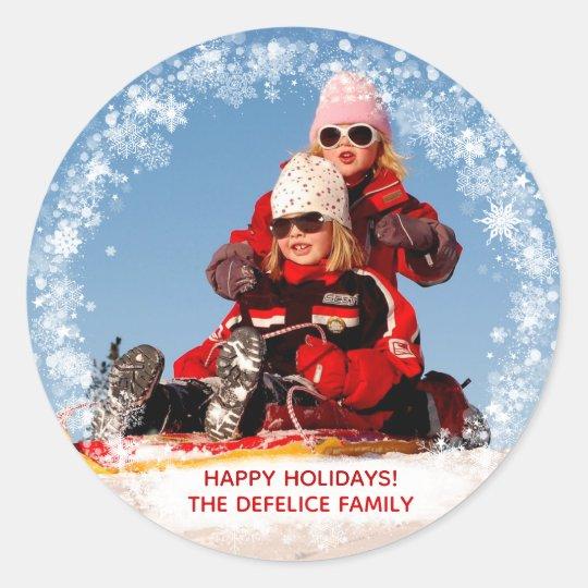 Christmas Holiday - Photo Snowflakes Frame Temp Classic Round Sticker