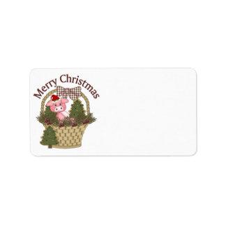 Christmas Holiday Pig Basket - Customize Label