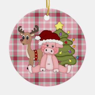 Christmas Holiday pig ornament