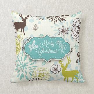 Christmas Holiday Pillow - Vintage Blue Deer