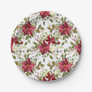 Christmas Holiday Poinsettia Flower Winter Floral Paper Plate