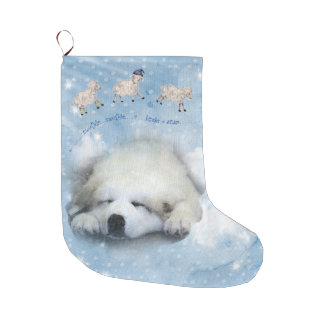 Christmas Holiday - Pyr Puppy Counting Sheep Large Christmas Stocking