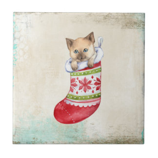 Christmas holiday red and white sock with a cat. small square tile