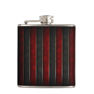 Christmas Holiday - Red/Black with Snowflakes Hip Flask